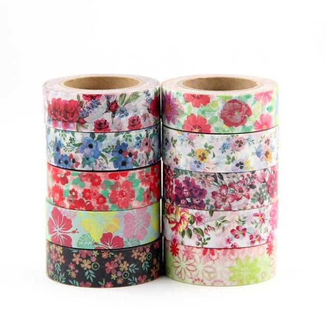 Cute Kawaii plantas flores japonés enmascarar Washi cinta adhesiva decorativa decoración Diy Scrapbooking etiqueta papelería