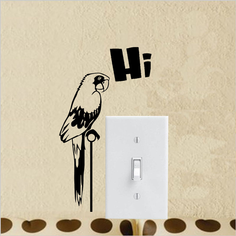 Parrot Art Wall Decal Home Decor Living Room Funky Vinyl Art Switch Sticker A3406 China