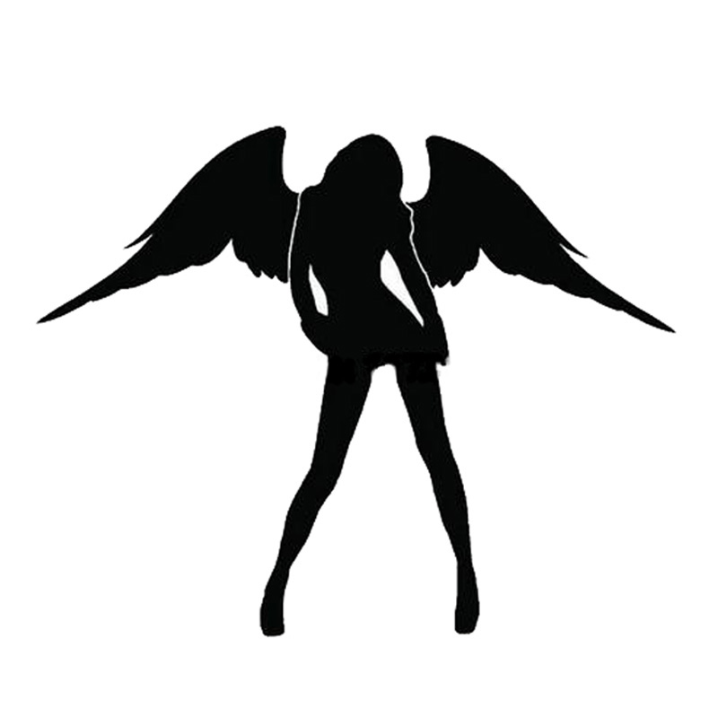 Sexy ANGEL Car Sticker- ը զարդարում է Lovely Angel Wings Motorcycle Styling Car Stickers- ը