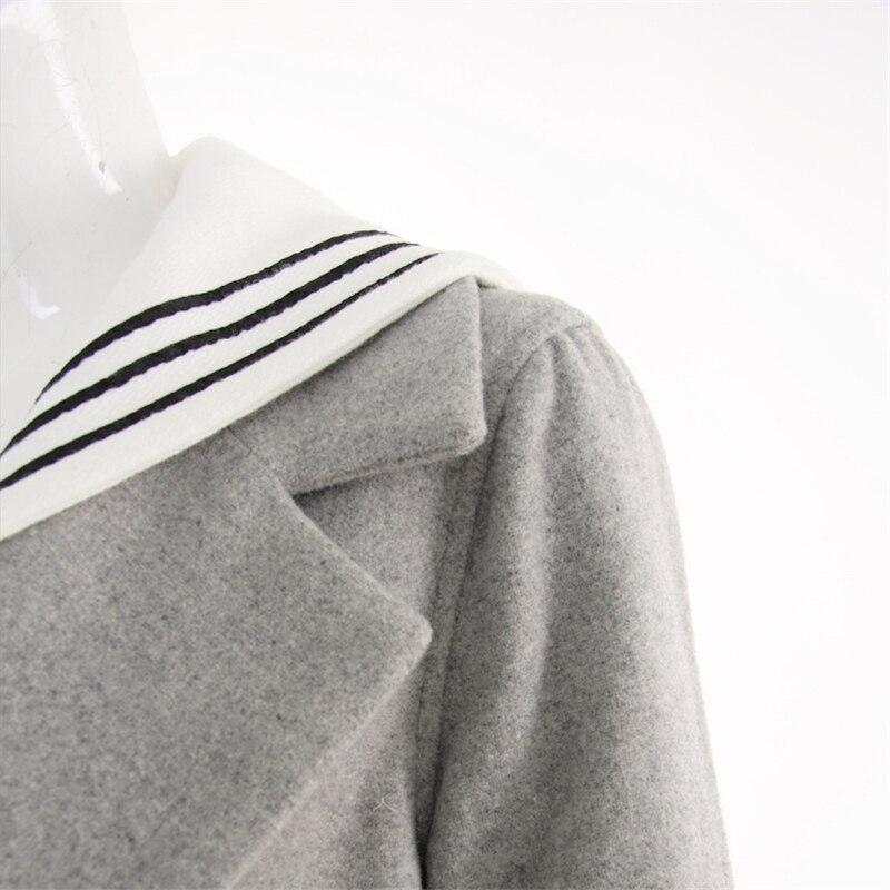 Lâche Femmes 2017 Mode Marine Veste Chaud Manteau Poitrine Pleine Marin Longue Vent Manches Gray Hiver Col Nouveau Unique Laine WnnSfFqw