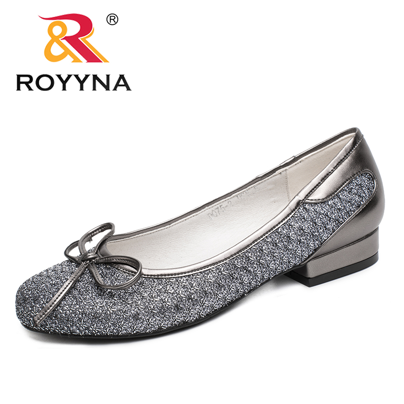 ROYYNA New Fashion Style Women Pumps Butterfly-Knot Women Dress Shoes Slip-On Women Office Shoes Round Toe Lady Wedding Shoes daitifen new women stilettos high heel shoes sweet butterfly knot solid girls pumps outdoor soft slip on lady mary janes shoes