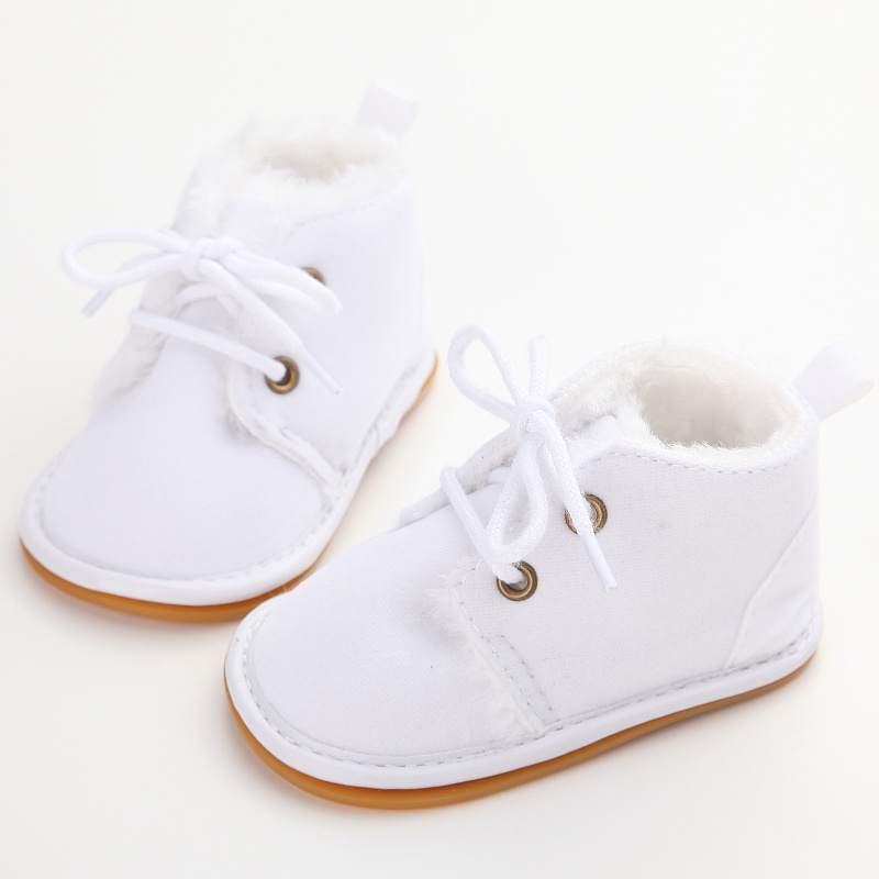 WONBO Cotton Shallow Baby Shoes Lace-Up Solid For Autumn Winter Warm Baby Girl Shoes High Quality Rubber First Walkers