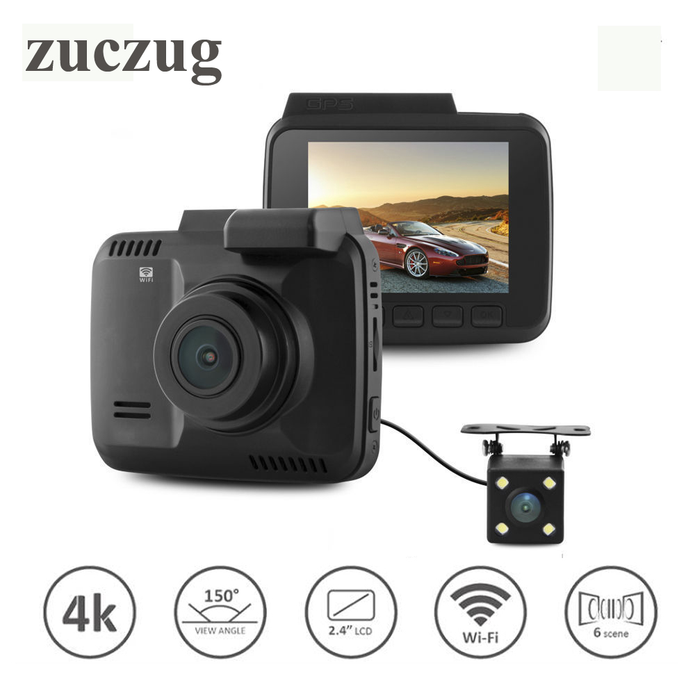 ZUCZUG Dual lens Car Wifi DVR camera Recorder Dash Cam G-sensor 2.4 Novatek 96660 Camera Built in GPS Camcorder 4K 2880x2160P