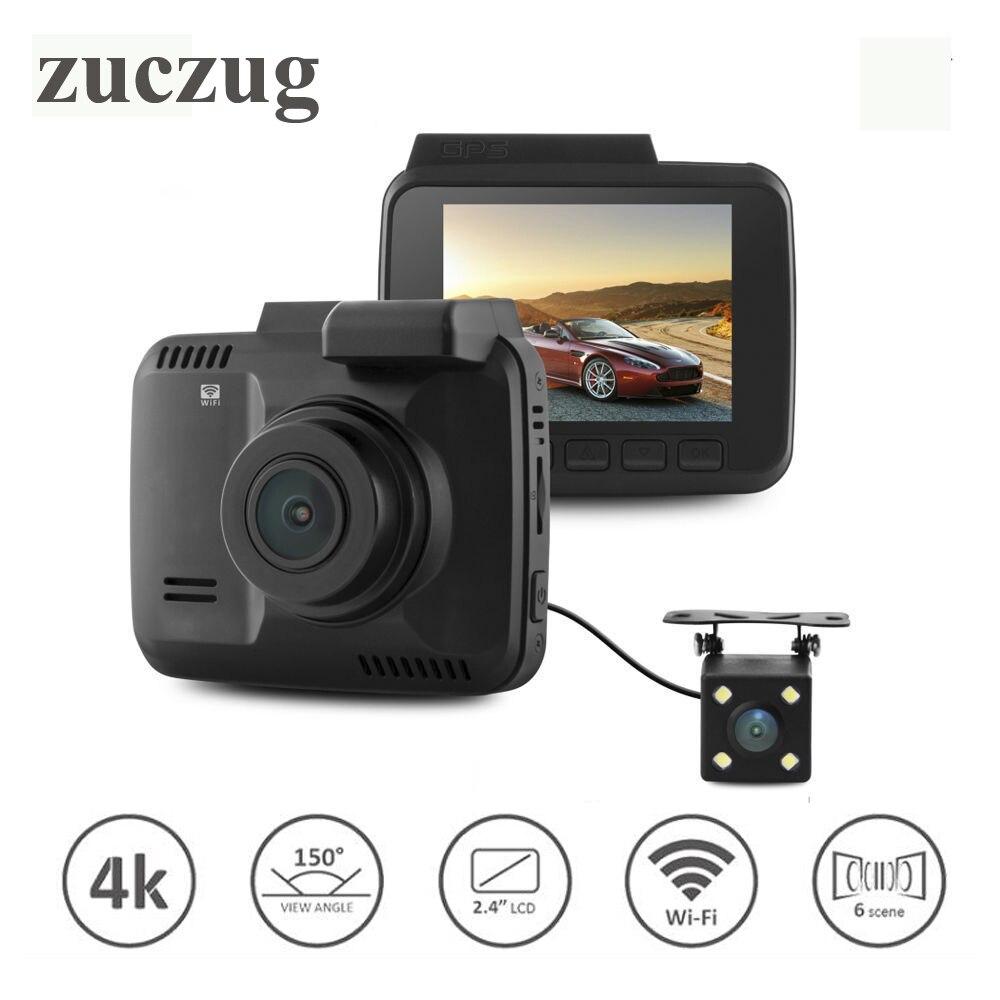 ZUCZUG Dual lens Car Wifi DVR camera Recorder Dash Cam G sensor 2.4 Novatek 96660 Camera Built in GPS Camcorder 4K 2880x2160P