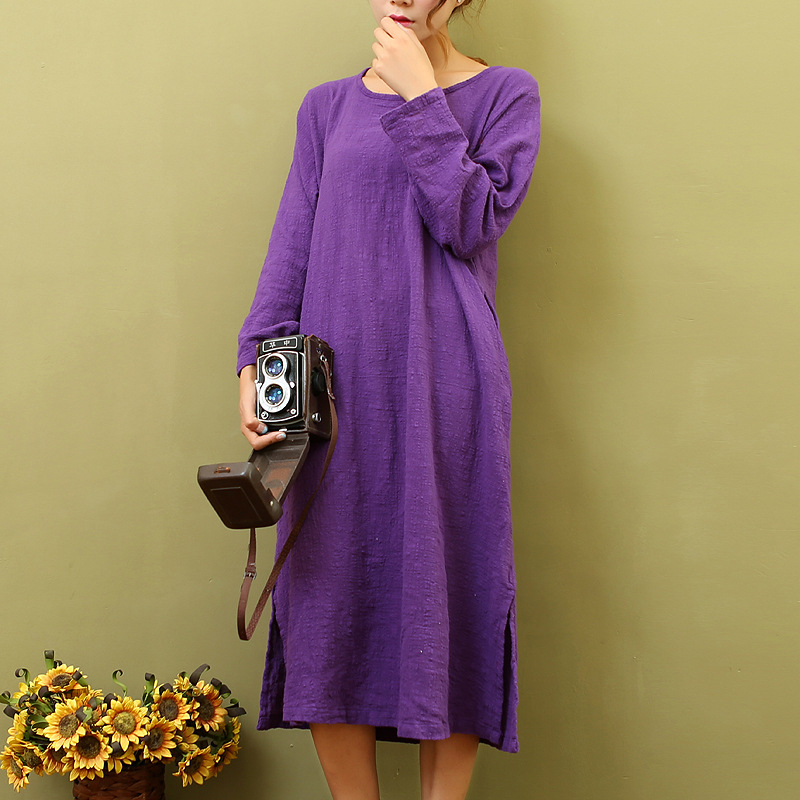 2f6dab6d12b5 Solid Purple O neck Long sleeve Knee length Dress Women Loose Casual White  Red Summer Dress Cotton Kawaii Cute Vestidos C023-in Dresses from Women s  ...