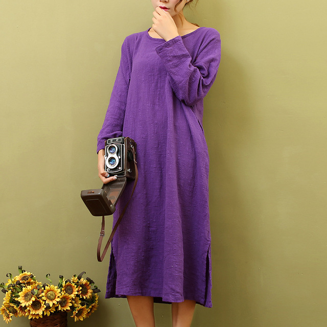 2f008ddd1e9c Solid Purple O-neck Long sleeve Knee length Dress Women Loose Casual White  Red Summer
