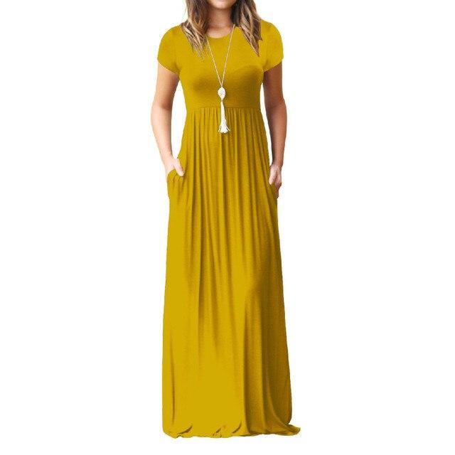 Verano Maxi vestido largo mujer ropa nueva moda manga corta sólido Casual vestidos de algodón Mujer bolsillos bata talla grande XXL GV598