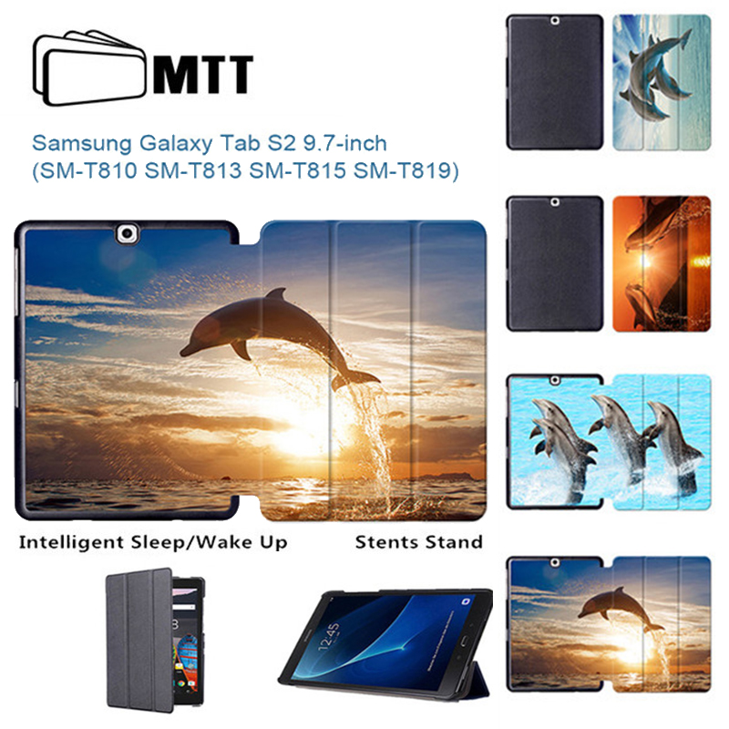 MTT Printing Dolphin Ultra Thin PU Leather Case Smart Folio Cover For Samsung Galaxy Tab S2 9.7 T813 T810 T819 T815 Tablet Stand 2014 for samsung galaxy note 8 0 n5100 n5110 book cover ultra slim thin business smart pu leather stand folding case