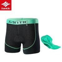מכנסיים אופניים אנטיבקטריאלי לנשימה מתחת בגדים קצרים SANTIC רכיבה על אופניים 3D מרופד אופני מכנסיים קצרים תחתוני גברים תחתונים שחור