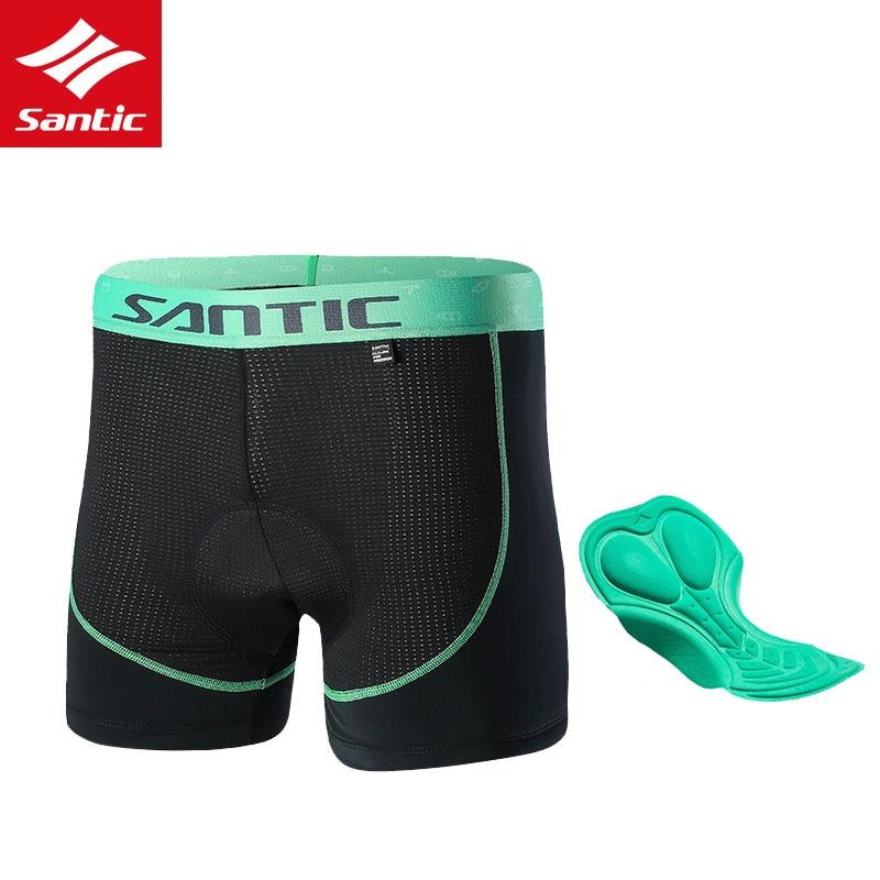 SANTIC Cycling Shorts Bicycle Antibacterial Breathable Under Short Clothing 3D Padded Bike Briefs Men Black Underwear Shorts