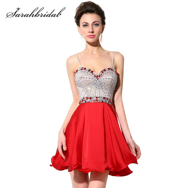 ee3504f7f46 Short Red Sexy Homecoming Dresses Shiny Beaded Chiffon Sweetheart Prom Gowns  Graduation Dresses Beaded Spasphetti Strap SY001