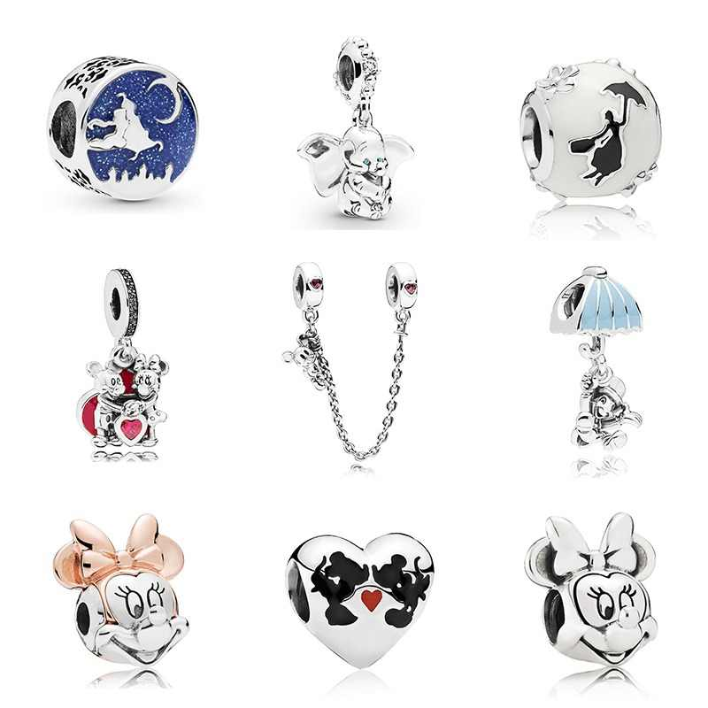 New Original Free Shipping Sliver Plated Bead Mickey Fairytale Dumbo Love Charm Fit Pandora Bracelet Necklace DIY Women Jewelry
