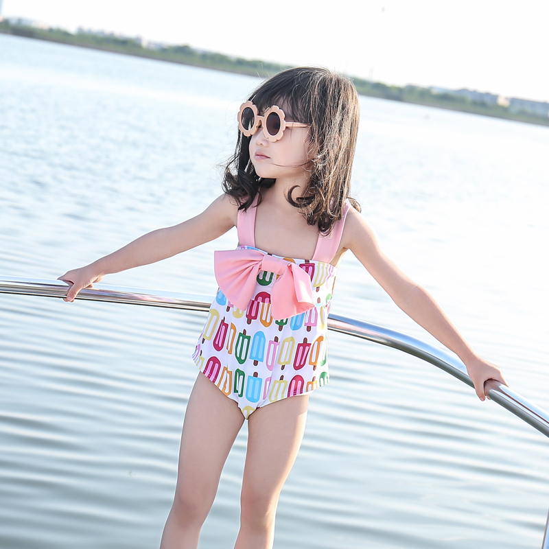 Children's Children's Skirts One-piece Baby Strap Swimsuit Girls Ice Cream Whale Pattern Pink Red Bow Polyester Nylon Spandex(China)
