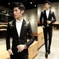 2016 negro y oro chaquetas hombres Slim FIt Club de trajes real barroco chaquetas casuales para hombre de la marca de lujo ropa para hombre trajes de baile