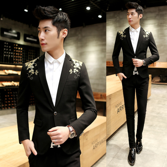 2017 Black And Gold Blazer For Mens Prom Baroque Suits Luxury Brand ...