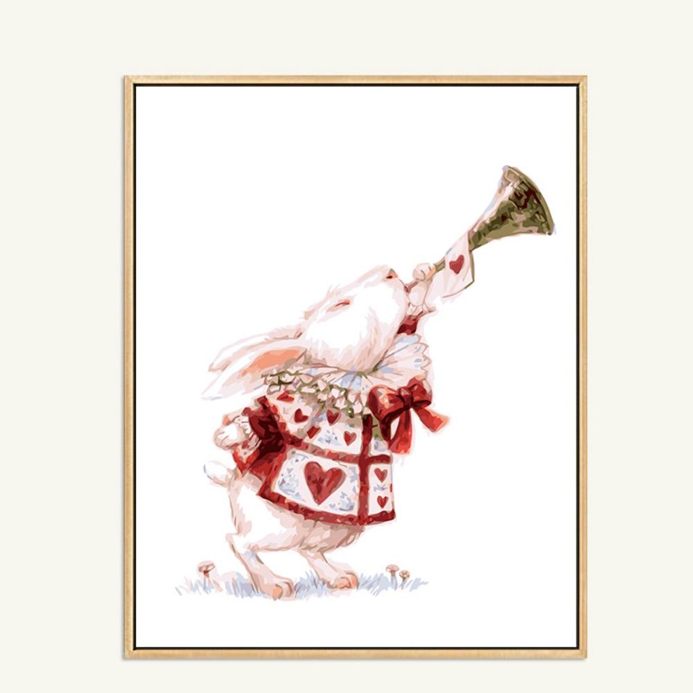 Enfants BRICOLAGE Peinture À L'huile Par Numéros Alice Fée Conte Toile Peinture Photos Lapin Corne Gonflant Blanc Rouge Arts Décoration de La Maison
