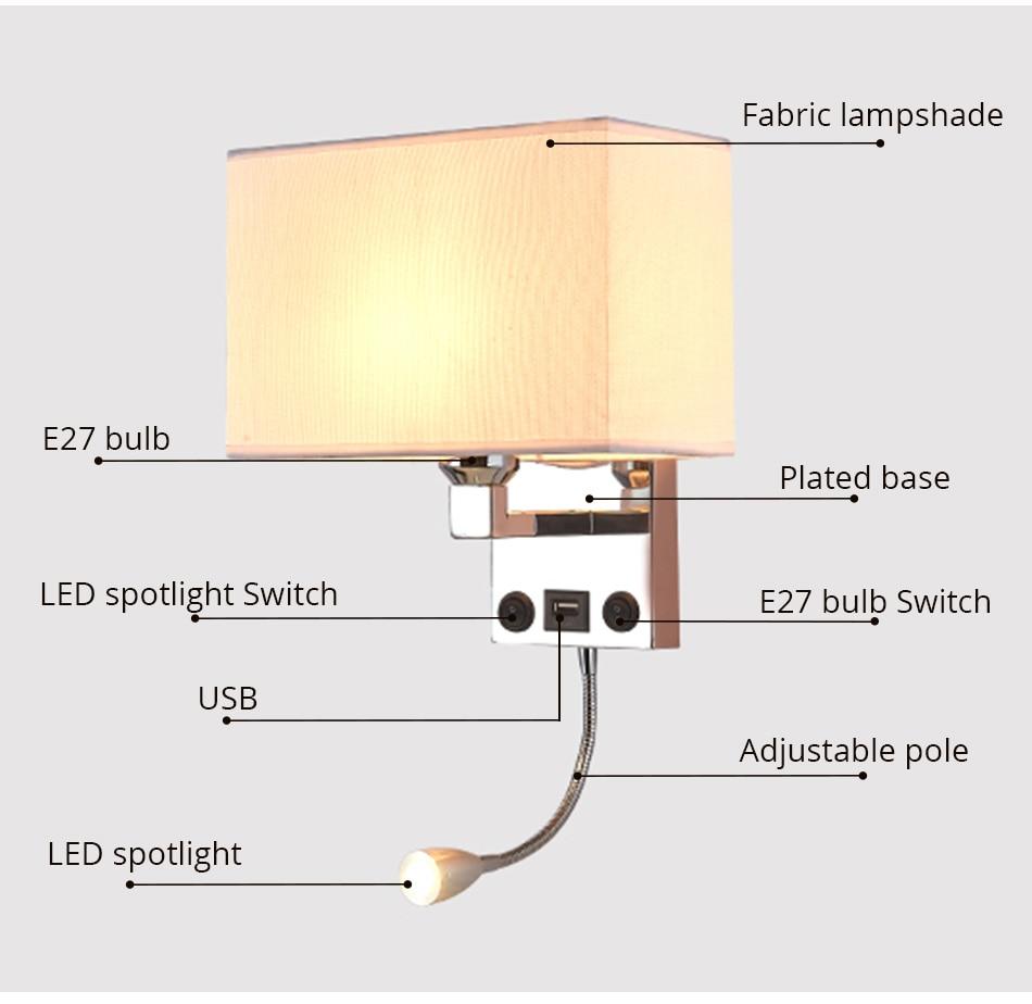 LED E27 Bulb Wall Light Modern Bedroom Bedside Hotel Living Room Wall Sconce Lighting 7W 85-265V Indoor Night Lighting Fixture (7)