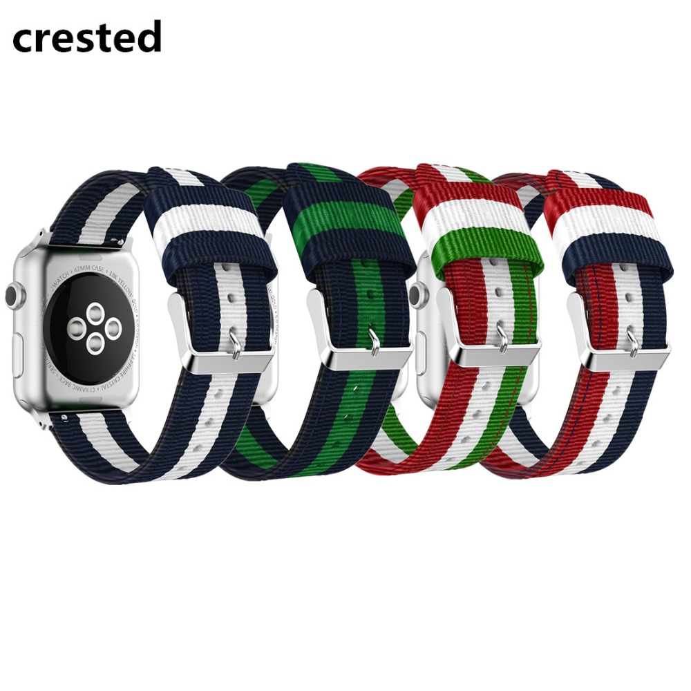 CRESTED woven nylon strap for apple watch band 42mm/38mm iwatch series 3/2/1 wrist band bracelet belt band canvas watch strap luxury ladies watch strap for apple watch series 1 2 3 wrist band hand made by crystal bracelet for apple watch series iwatch