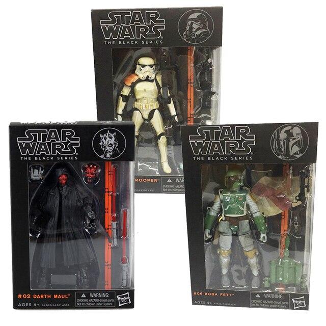Polegada 17 6 centímetros Star Wars Figura A Série Negra Sandtrooper 06 03 02 Darth Maul Figuras de Ação Brinquedos