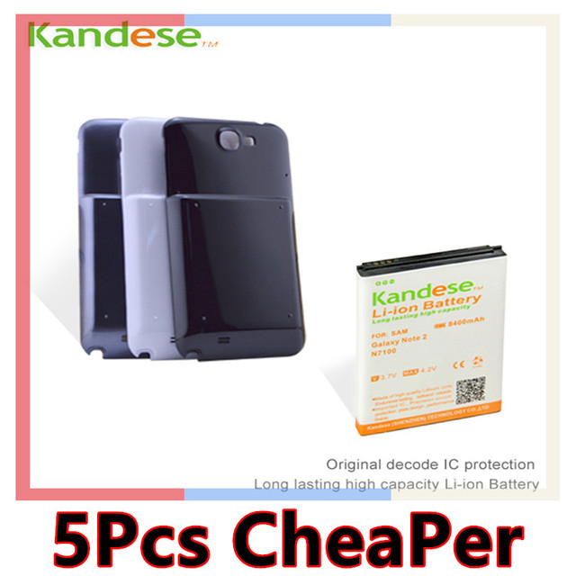 sale 1pcs/lot KANDESE Brand Black Door Cover + 8400mAh High capacity Extended Battery For Samsung Galaxy Note 2 N7100 Note2 7100