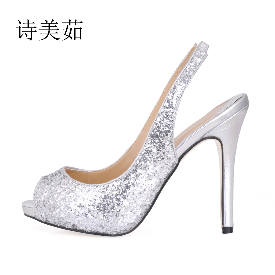 2016 New Silver Glitter Sexy Wedding Party Shoes Women Peep Toe Thin High Heels Back Strap Bridal Ladies Pumps Zapatos Mujer S2 цена 2016