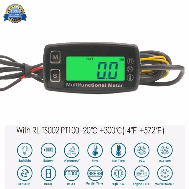 Digital Tach Hour Meter Theomometer Temp Meter for Gas Engine Motorcycle Marine Jet Ski Buggy Tractor Pit Bike Paramotor