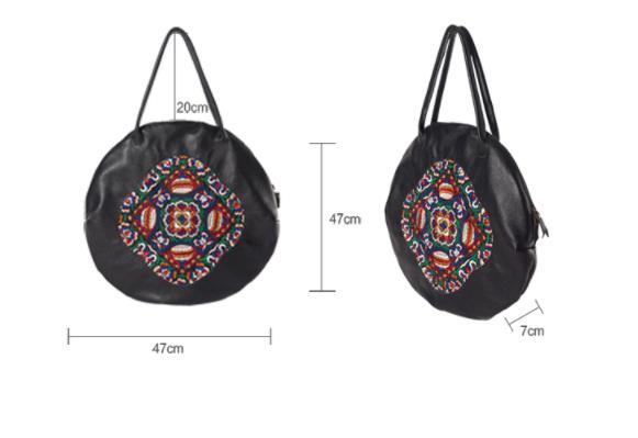 HANSOMFY женские сумки из натуральной кожи 2018 новые оригинальные вышитые первый слой кожаные женские сумки через плечо портативные круглые сум... - 6