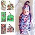 2 pcs Rose Flor Receber Cobertor Swaddle Do Bebê Do Algodão Toalha de Banho Do Bebê Conjunto Bebê Recém-nascido Foto Prop Gorros Hat 0-24 Meses