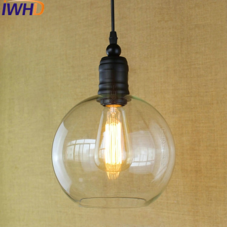 IWHD Style Loft Retro Vintage Pendant Light Fixtures Iron LED Hanging Lamp Bedroom kitchen Glass Ball Lamparas Home Lighting