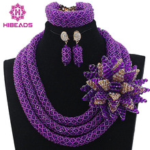 Luxury Purple African Beads Wedding Necklace Set Chunky Nigerian African Jewelry Sets New Free Shipping HX570