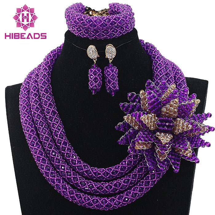 Luxury Purple African Beads Wedding Necklace Set Chunky Nigerian African Jewelry Sets New Free Shipping HX570Luxury Purple African Beads Wedding Necklace Set Chunky Nigerian African Jewelry Sets New Free Shipping HX570