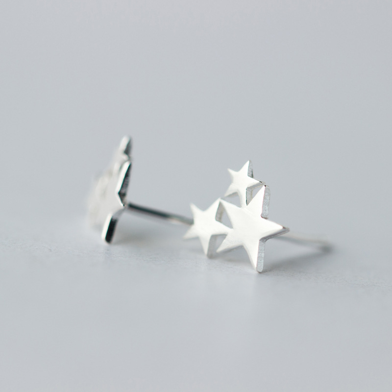 100 925 Sterling Silver Three Star Stud Earrings For Women Prevent Allergy Brincos pendientes mujer moda 2019 Brincos in Stud Earrings from Jewelry Accessories