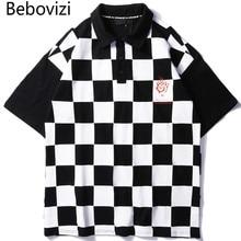 Bebovizi 2019 Summer Streetwear Hip Hop Trend Style Checkerboard Plaid Print Polo Shirts Men Cotton Short Sleeved Camisa