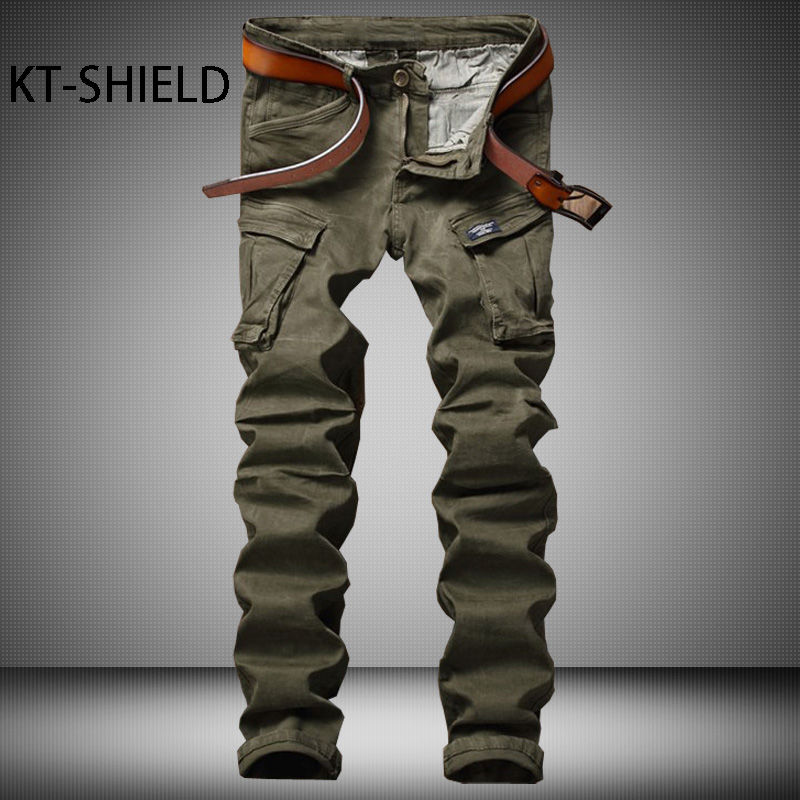 ФОТО Mens jeans biker military Cargo Pants Cotton Slim full length Solid Casual harem trousers Hip Hop Denim Pantalones Hombre