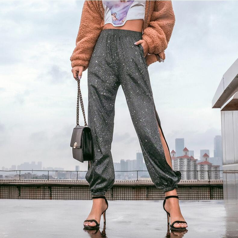 Split Side Glitter Trousers Women Elegant High Waist Ladies Pants Harajuku Black Harem Pants Capris Summer Streetwear