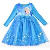 New Girls Cartoon Print Dress Kids Anna Elsa Princess Costumes Child Carnaval Cosplay Party Dresses Children