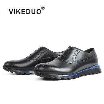 VIKEDUO Genuine Calf Skin Mens Sneakers Casual Patina Black Full Brogue Handmade Sports Shoes Fashion Walking Leather Men