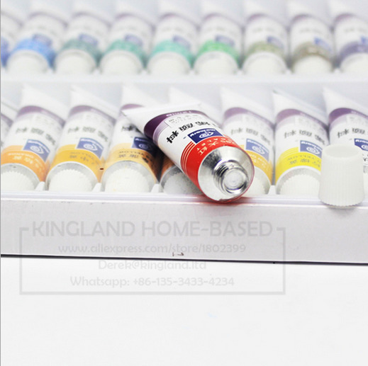 Water resistant 24 12 colors tube acrylic paint set color for Acrylic paint water resistant