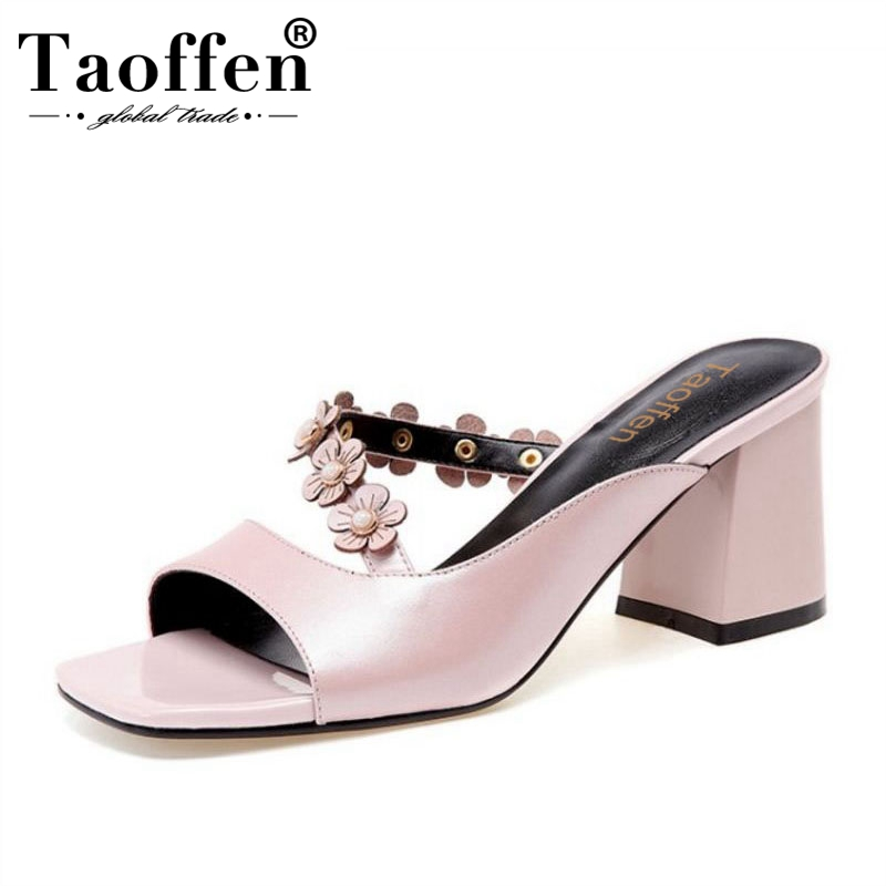 TAOFFEN Women High Heel Sandals Real Leather Flowers Open Toe Ladies Summer Shoes High Quality Slippers