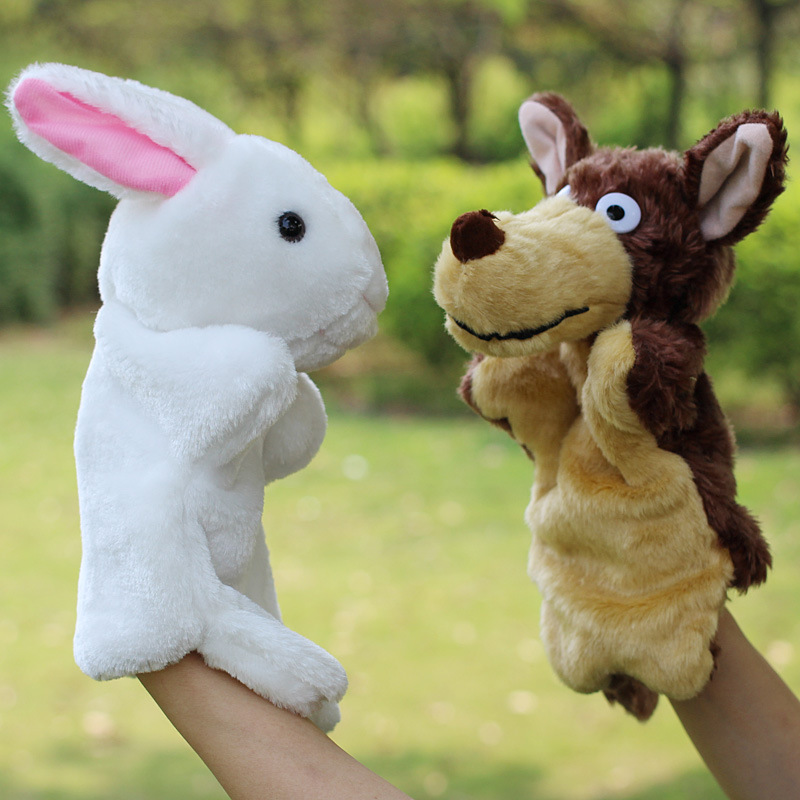 Animal Hand Puppet Marioneta Puppet Dolls Plush Elephant Panda Cat Hand Doll Learning Baby Toys Marionetes Fantoche Puppets