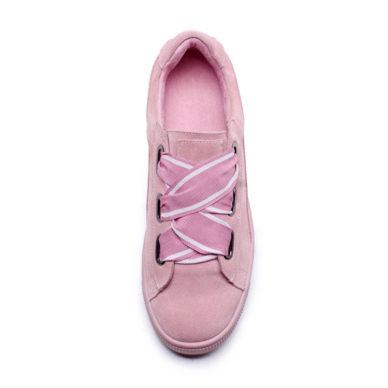 Casual Facilmente Nero Up Pelle Lace white Tempo Da Rosa Ribbon Black Piedi Il Vera A Libero Appartamenti Le Raggiungibili Per Sneakers Femminili Donne Ginnastica Scarpe Bianco pink R7wAz0