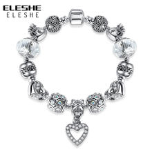 ELESHE Silver Charm Bracelet for Women DIY Jewelry Original Heart and Zircon Crystal Beads Friendship Bracelet Gift(China)