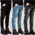 Уличная мужские разорвал байкер джинсы homme мужская мода мотоциклов slim-подходят черный белый синий Moto джинсовые брюки бегунов u-тощие мужчины