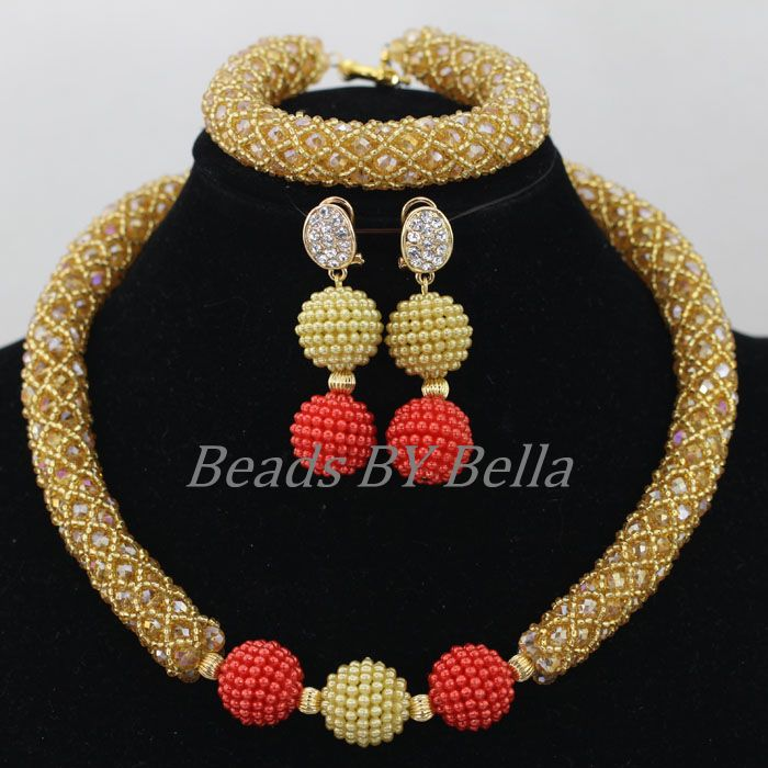 2016Latest Gold Crystal Beads African Jewellery Set Women ...