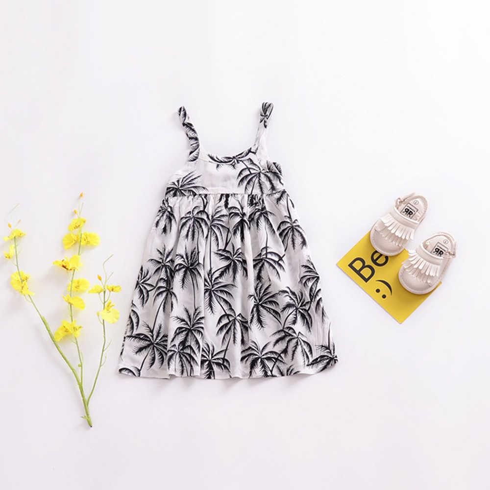 Новые детские платья без бретелек для девочек-подростков летняя праздничная одежда с цветочным рисунком для маленьких детей 2018 г. Повседневное платье для путешествий на возраст от 2 до 6 лет