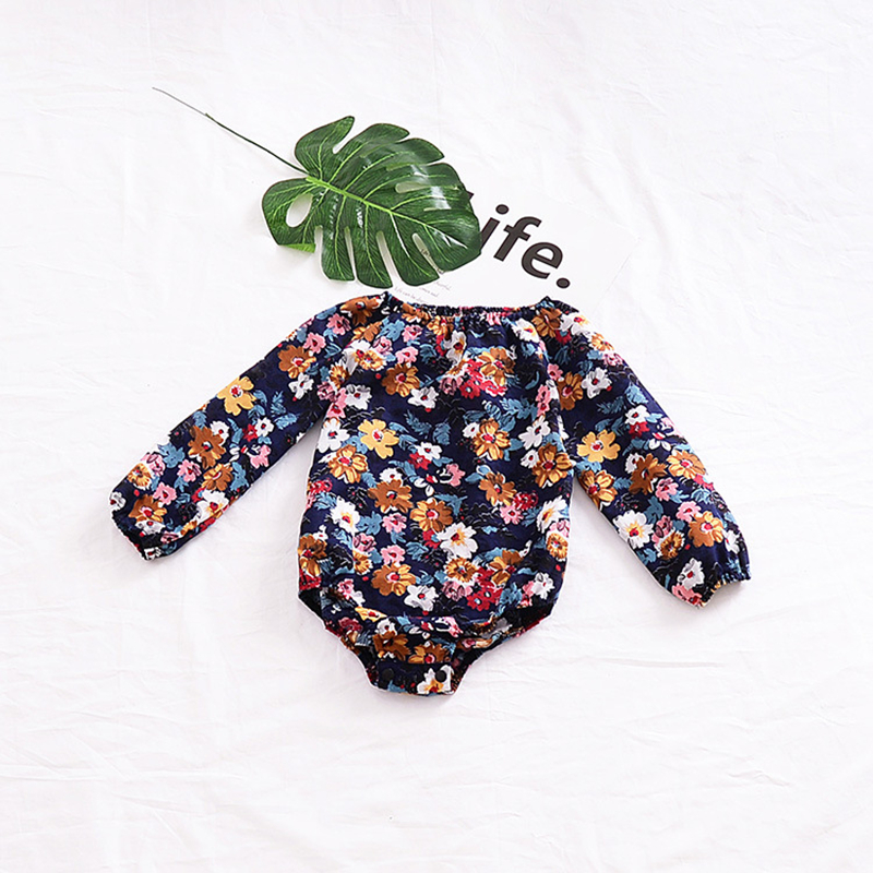 2018 Baby Floral Baby Girl Onesie Baby Girl Bodysuits Long Sleeve Floral Bubbles Spring Autumn Fashion Toddler Outfits