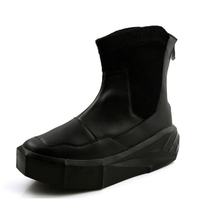 blanc Retour Croissante Noir forme Cuir Boots856 Noir Chaussures Blanc En High Top Zip Hauteur Mélangées Cm Bottes Plate De 5 Hommes Couleurs N qt0xwgBn