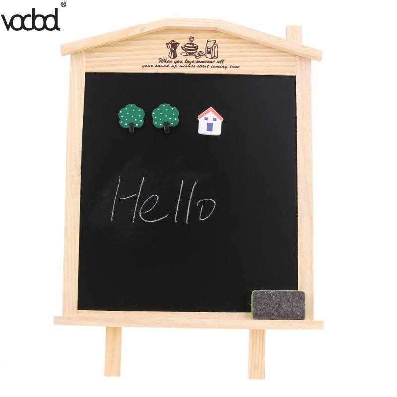 VODDOL 36*17cm Desktop Message Chalkboard Mini Wood Blackboard Office School Kids Writing Drawing Board with Chalk Magnetic Nail magnetic chalkboard blackboard sheet decorative black chalk writing board blackboard stickers 60 x 40 cm