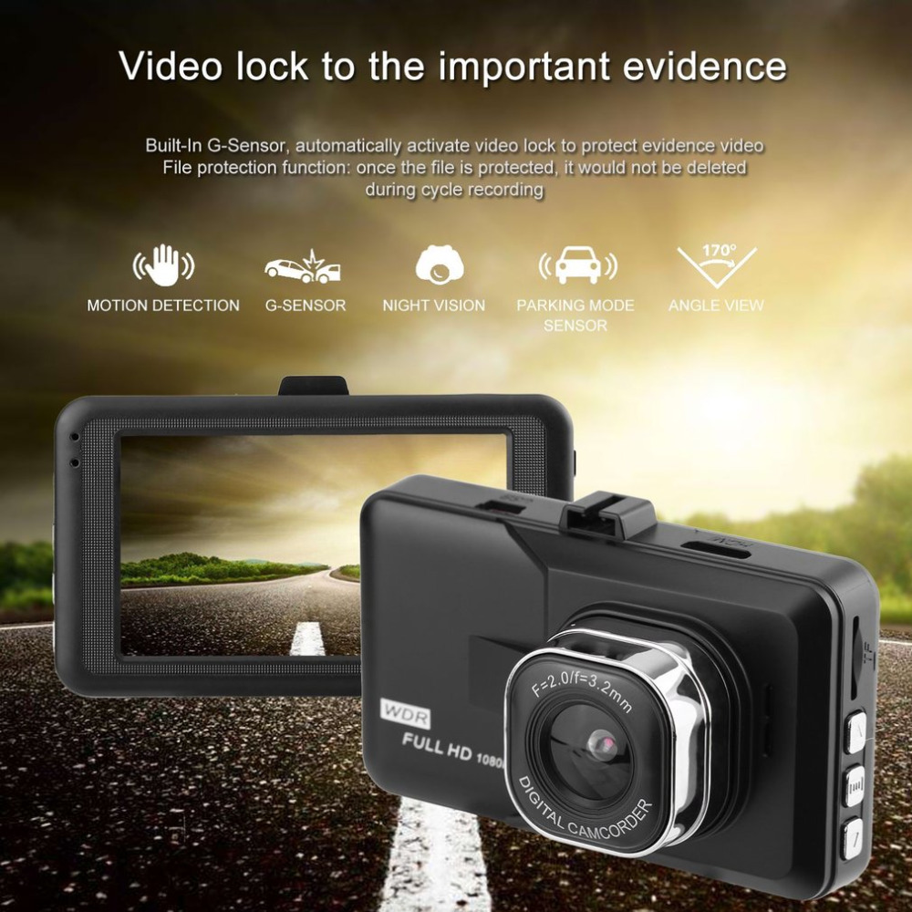 2018 New 3.0 inch LCD Dash Camera Video Car DVR Recorder Full 1080P HD G-Sensor 32GB Motion Detector Cycle Recording Hot Selling