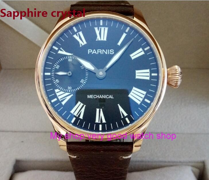 Sapphire Crystal 44mm PARNIS Black dial asian 6497/ST3600 Mechanical Hand Wind movement men's watch Mechanical watches 88A 40mm parnis black dial sapphire glass asian automatic self wind mechanical movement men s watch mechanical watches g56